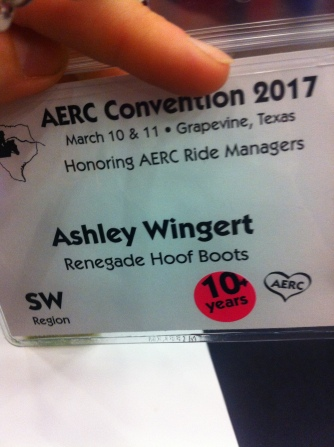 "A cool thing AERC did for badges (both vendor and attendee) -- provided stickers you could put on indicating how long you had been riding endurance. For me, as a vendor I found this a useful ""validation"" tool -- it said ""I'm not just hawking a product, I'm an active rider who beleives in and uses what I'm advertising."""
