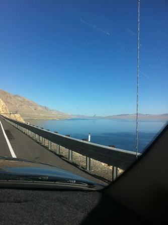Driving around Walker Lake.