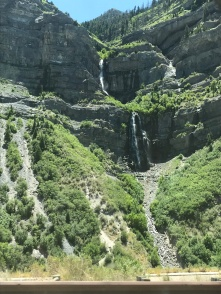 Scenes from the road: driving past Bridal Veil Falls outside of Provo, UT